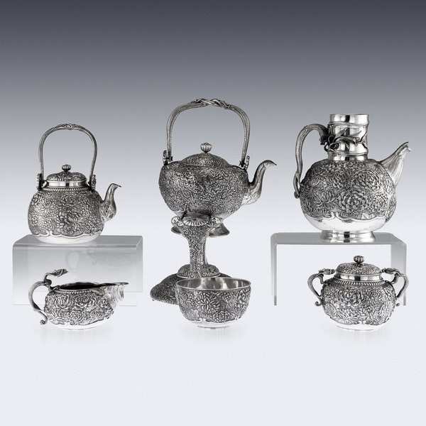 ANTIQUE 20thC JAPANESE SOLID SILVER TEA & COFFEE SERVICE ON TRAY, KONOIKE c.1900 - image 4