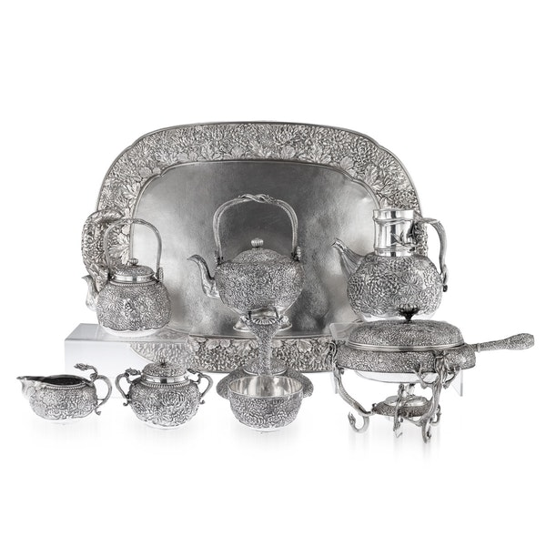 ANTIQUE 20thC JAPANESE SOLID SILVER TEA & COFFEE SERVICE ON TRAY, KONOIKE c.1900 - image 1