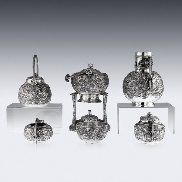 ANTIQUE 20thC JAPANESE SOLID SILVER TEA & COFFEE SERVICE ON TRAY, KONOIKE c.1900 - image 3