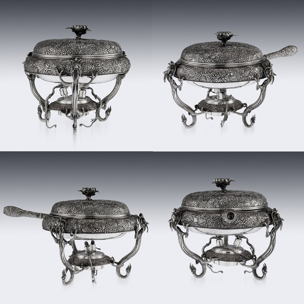 ANTIQUE 20thC JAPANESE SOLID SILVER TEA & COFFEE SERVICE ON TRAY, KONOIKE c.1900 - image 7