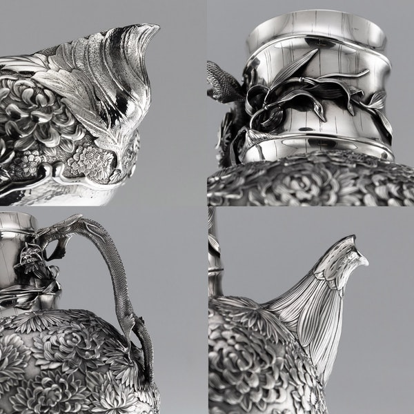 ANTIQUE 20thC JAPANESE SOLID SILVER TEA & COFFEE SERVICE ON TRAY, KONOIKE c.1900 - image 10