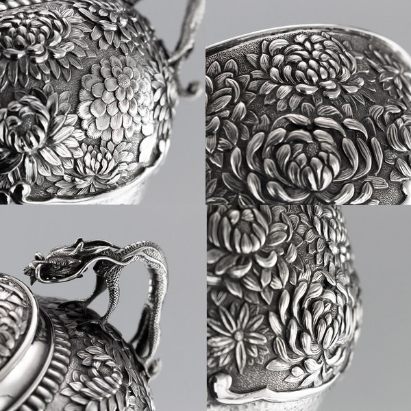 ANTIQUE 20thC JAPANESE SOLID SILVER TEA & COFFEE SERVICE ON TRAY, KONOIKE c.1900 - image 9
