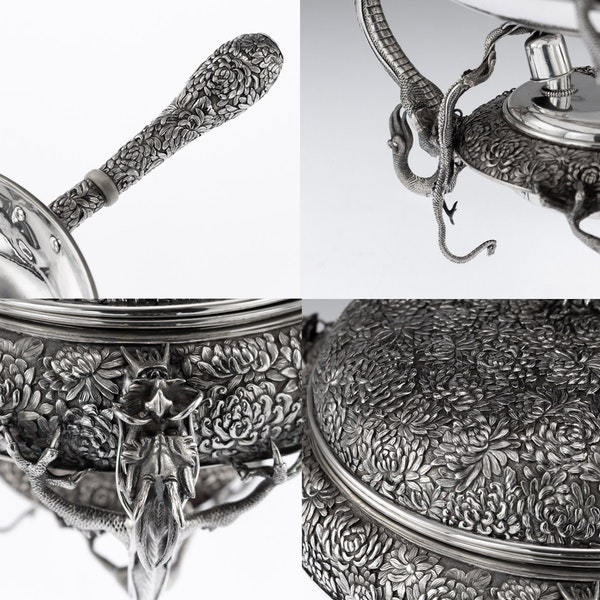 ANTIQUE 20thC JAPANESE SOLID SILVER TEA & COFFEE SERVICE ON TRAY, KONOIKE c.1900 - image 8