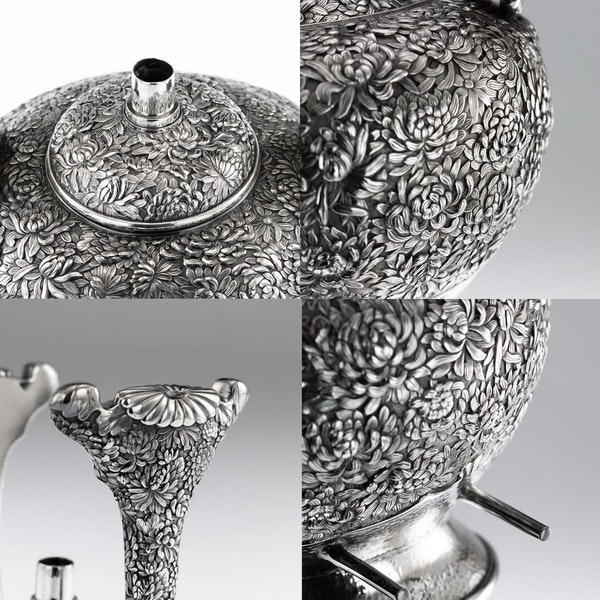 ANTIQUE 20thC JAPANESE SOLID SILVER TEA & COFFEE SERVICE ON TRAY, KONOIKE c.1900 - image 11