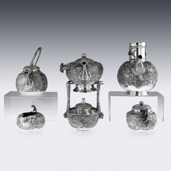 ANTIQUE 20thC JAPANESE SOLID SILVER TEA & COFFEE SERVICE ON TRAY, KONOIKE c.1900 - image 5