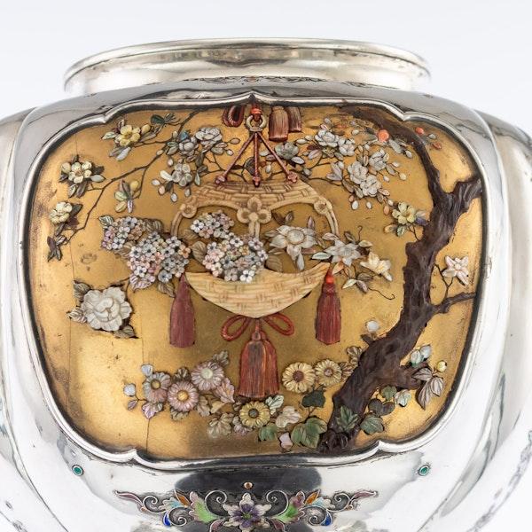 ANTIQUE 19thC JAPANESE SOLID SILVER, ENAMEL & SHIBAYAMA KORO c.1890 - image 9