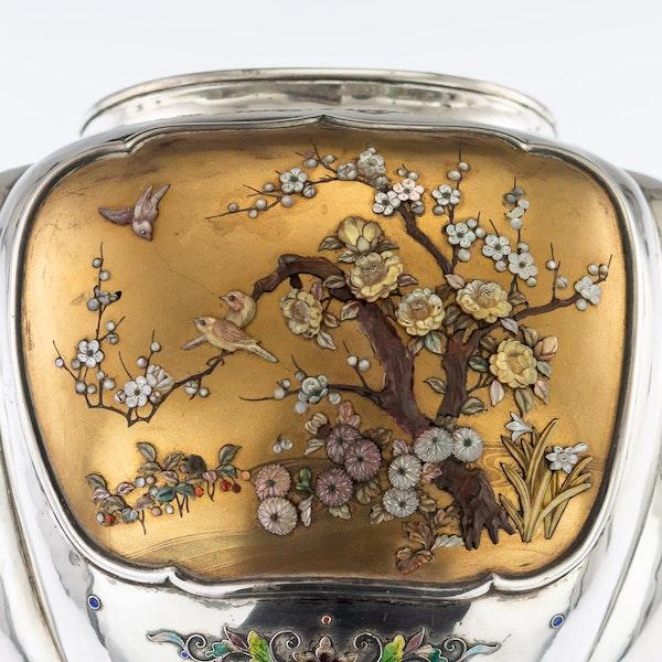 ANTIQUE 19thC JAPANESE SOLID SILVER, ENAMEL & SHIBAYAMA KORO c.1890 - image 8