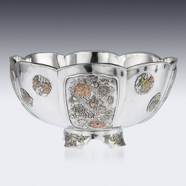 ANTIQUE 20thC JAPANESE MEIJI PERIOD SOLID SILVER & ENAMEL BOWL C.1900 - image 2