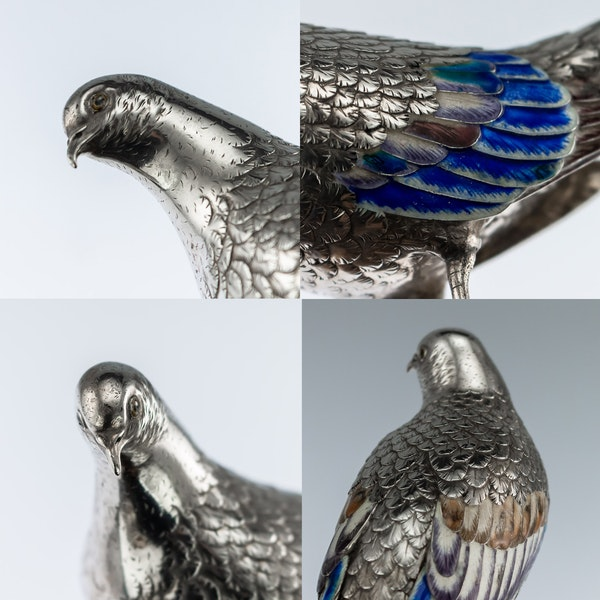 ANTIQUE 19thC JAPANESE SOLID SILVER & ENAMEL MODELS OF PIGEONS ON STAND c.1890 - image 10