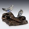 ANTIQUE 19thC JAPANESE SOLID SILVER & ENAMEL MODELS OF PIGEONS ON STAND c.1890 - image 3