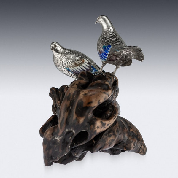 ANTIQUE 19thC JAPANESE SOLID SILVER & ENAMEL MODELS OF PIGEONS ON STAND c.1890 - image 2