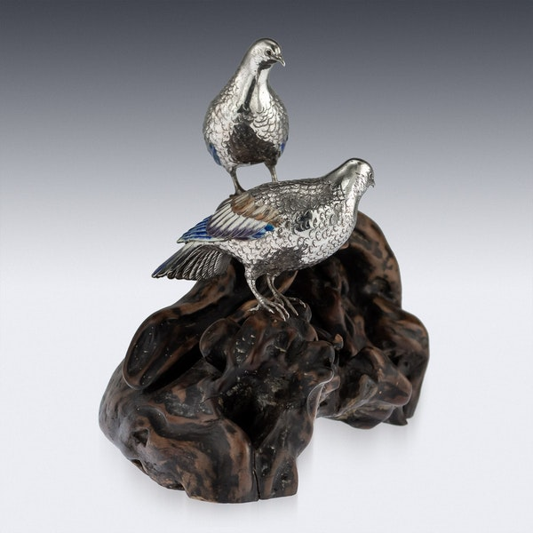 ANTIQUE 19thC JAPANESE SOLID SILVER & ENAMEL MODELS OF PIGEONS ON STAND c.1890 - image 4