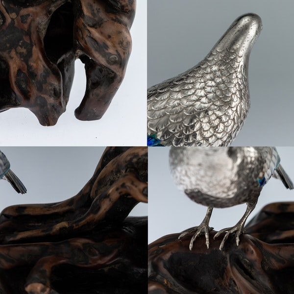 ANTIQUE 19thC JAPANESE SOLID SILVER & ENAMEL MODELS OF PIGEONS ON STAND c.1890 - image 11