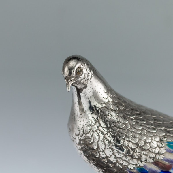 ANTIQUE 19thC JAPANESE SOLID SILVER & ENAMEL MODELS OF PIGEONS ON STAND c.1890 - image 5