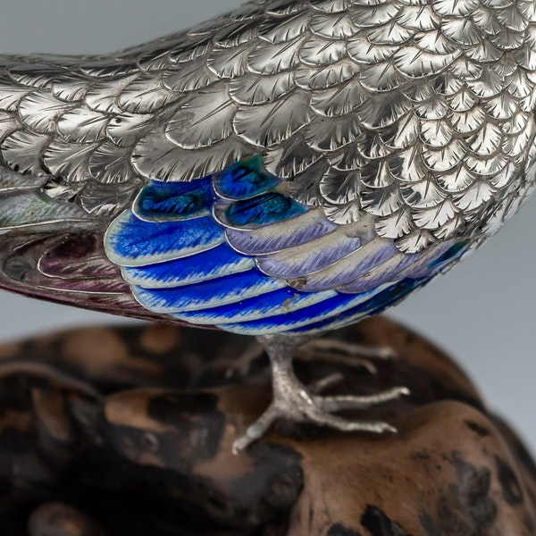 ANTIQUE 19thC JAPANESE SOLID SILVER & ENAMEL MODELS OF PIGEONS ON STAND c.1890 - image 9