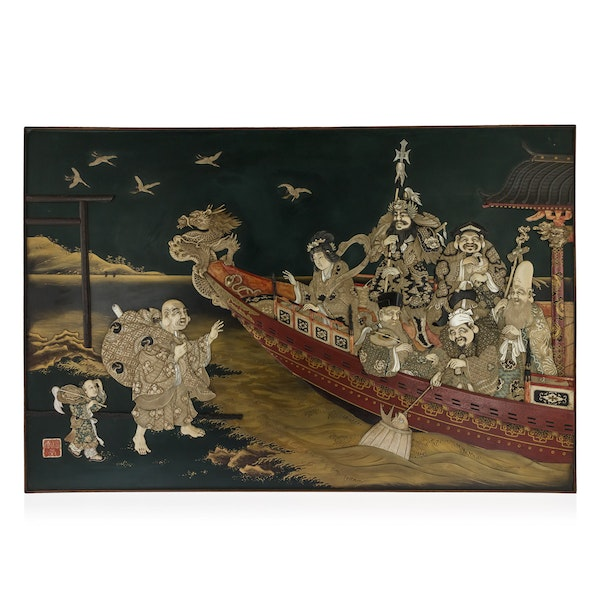 ANTIQUE 19thC JAPANESE MONUMENTAL SHIBAYAMA & LACQUER WALL PLAQUE c.1890 - image 1