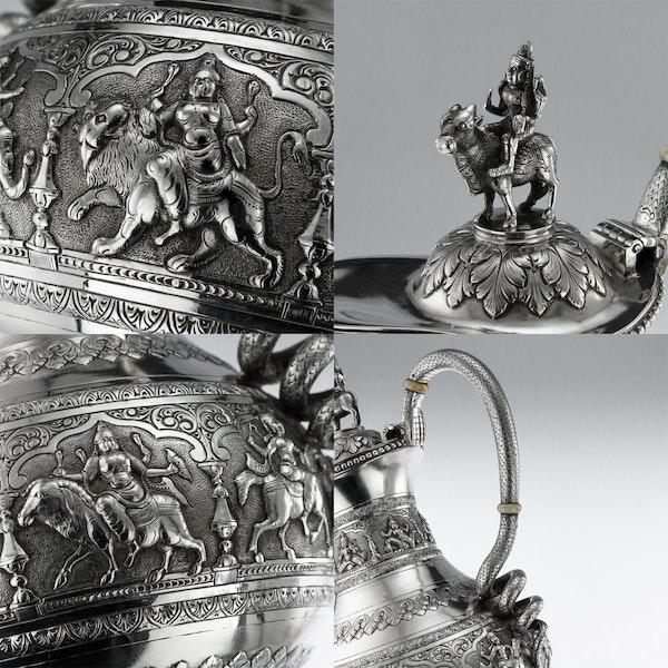 ANTIQUE 20thC INDIAN SOLID SILVER SWAMI TEA SERVICE, KRISHNIAH CHETTY c.1910 - image 11