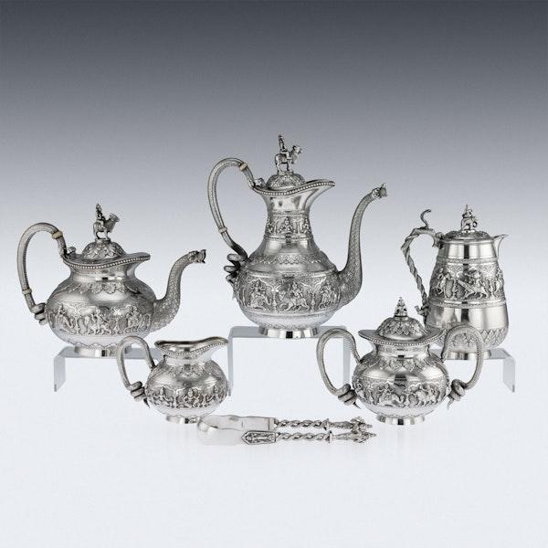 ANTIQUE 20thC INDIAN SOLID SILVER SWAMI TEA SERVICE, KRISHNIAH CHETTY c.1910 - image 3