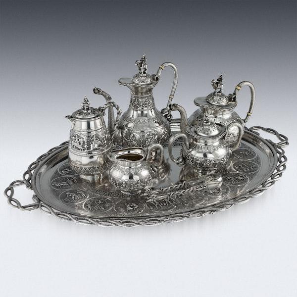 ANTIQUE 20thC INDIAN SOLID SILVER SWAMI TEA SERVICE, KRISHNIAH CHETTY c.1910 - image 6