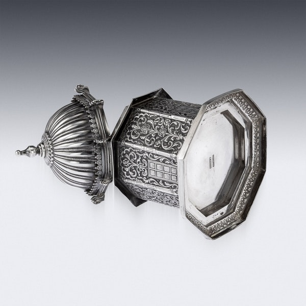 ANTIQUE 20thC INDIAN SOLID SILVER TEMPLE SHAPED TEA CADDY, OOMERSI MAWJI c.1920 - image 6