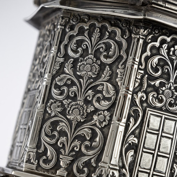ANTIQUE 20thC INDIAN SOLID SILVER TEMPLE SHAPED TEA CADDY, OOMERSI MAWJI c.1920 - image 13