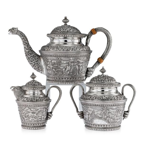 ANTIQUE 20thC INDIAN KARACHI-CUTCH SOLID SILVER TEA SET, J MANIKRAI c.1900 - image 1