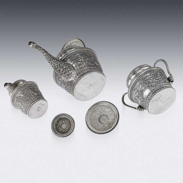 ANTIQUE 20thC INDIAN KARACHI-CUTCH SOLID SILVER TEA SET, J MANIKRAI c.1900 - image 5
