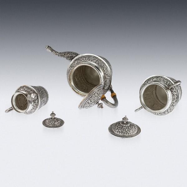 ANTIQUE 20thC INDIAN KARACHI-CUTCH SOLID SILVER TEA SET, J MANIKRAI c.1900 - image 6