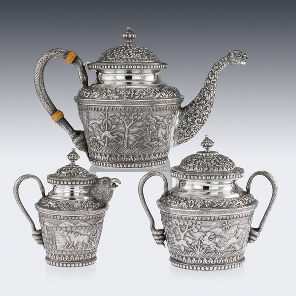 ANTIQUE 20thC INDIAN KARACHI-CUTCH SOLID SILVER TEA SET, J MANIKRAI c.1900 - image 3