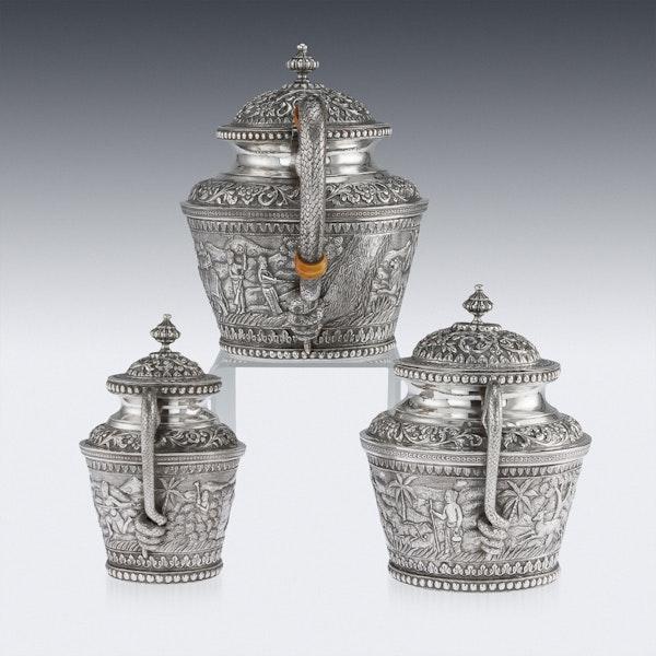 ANTIQUE 20thC INDIAN KARACHI-CUTCH SOLID SILVER TEA SET, J MANIKRAI c.1900 - image 2