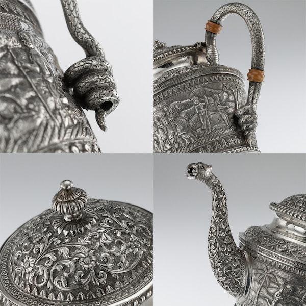 ANTIQUE 20thC INDIAN KARACHI-CUTCH SOLID SILVER TEA SET, J MANIKRAI c.1900 - image 10
