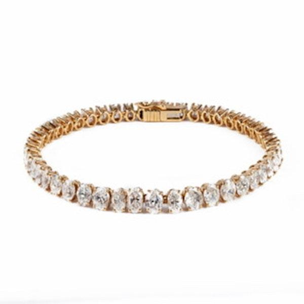 Diamond line bracelet with 13 carats of oval cut fiamonds - image 1
