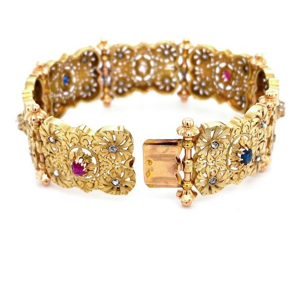 C19 th French gem set panel bracelet - image 2