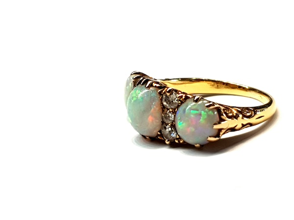 Victorian three stone opal and diamond dress ring - image 2