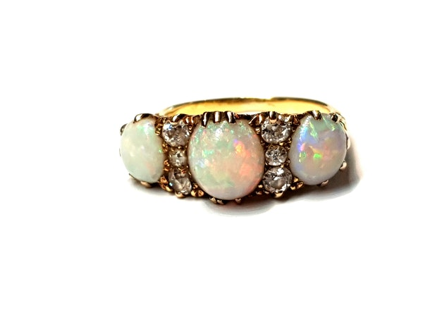Victorian three stone opal and diamond dress ring - image 4