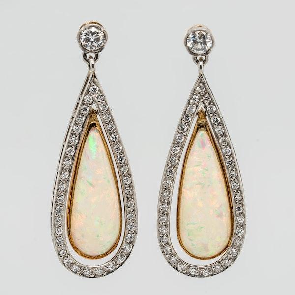Long Opal and Diamond earrings - image 1