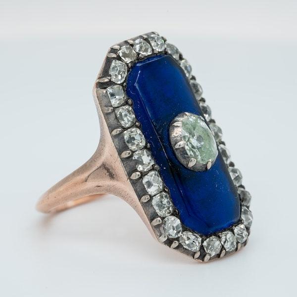 Georgian blue glass and old mine cut diamond ring - image 2