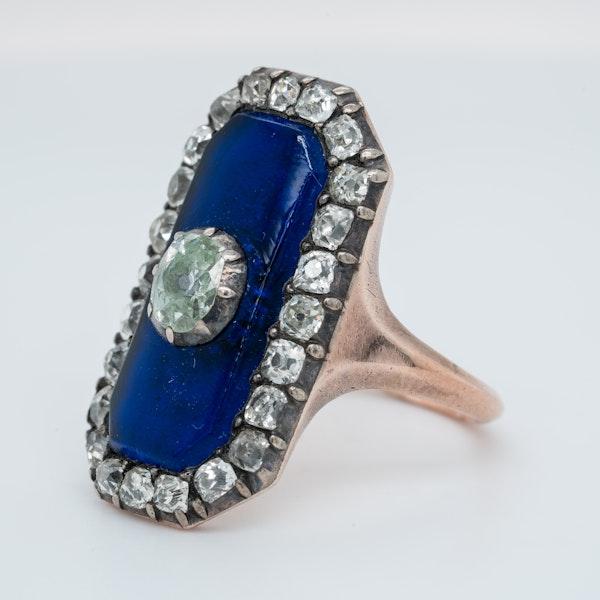 Georgian blue glass and old mine cut diamond ring - image 3