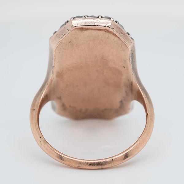 Georgian blue glass and old mine cut diamond ring - image 4