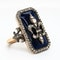 Nineteenth century French blue glass and diamond fleur de lys ring - image 2