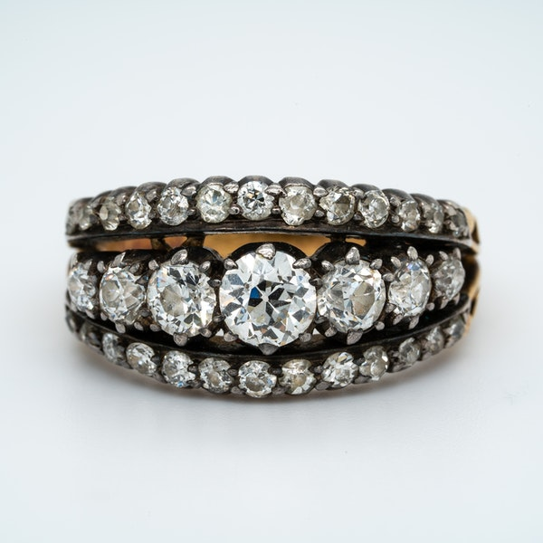 Victorian three row diamond ring - image 1