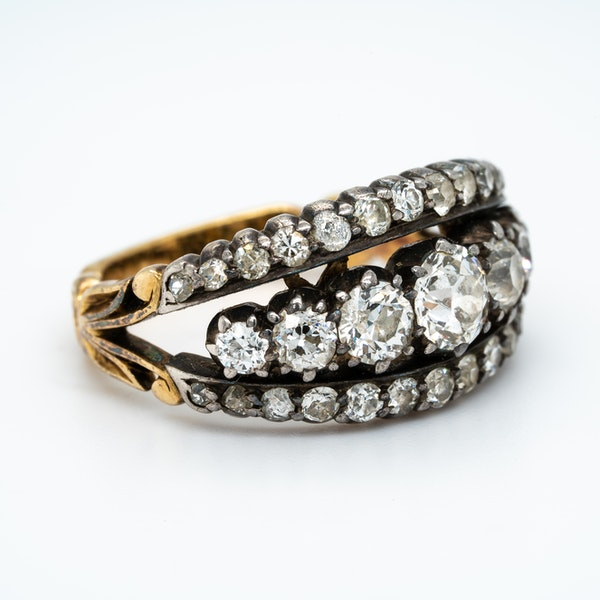 Victorian three row diamond ring - image 2