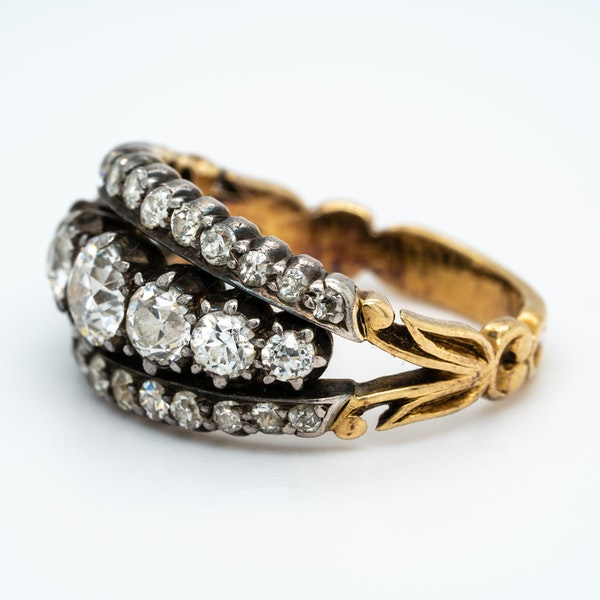 Victorian three row diamond ring - image 3