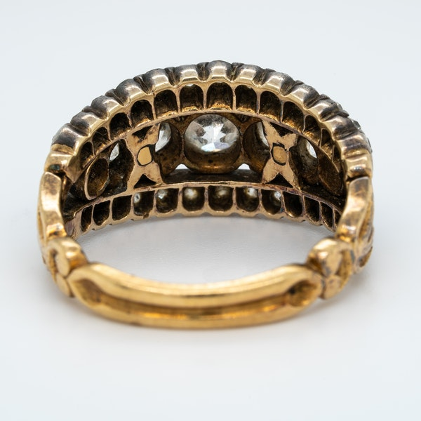 Victorian three row diamond ring - image 4