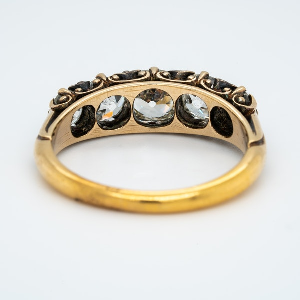 Victorian diamond 5 stone half hoop ring - image 2