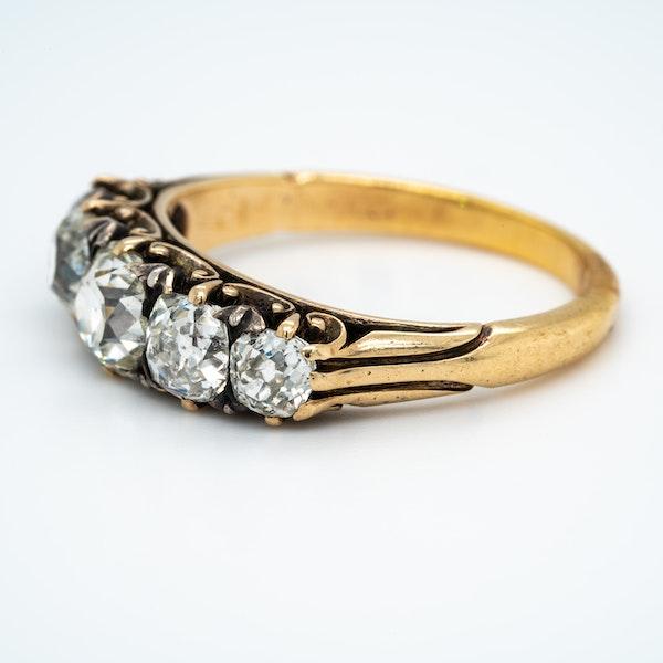 Victorian diamond 5 stone half hoop ring - image 4