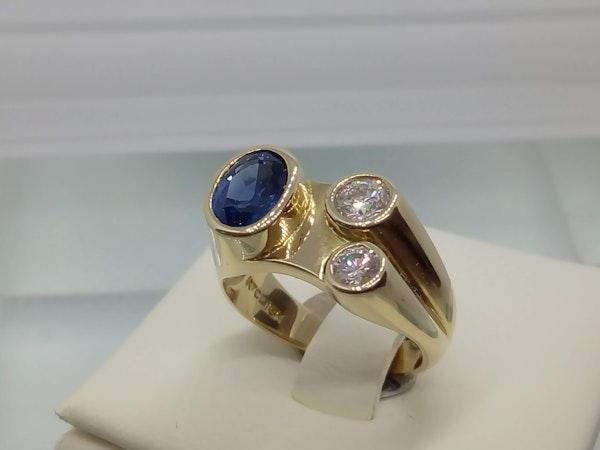 70'S Sapphire and Diamond Ring - image 2