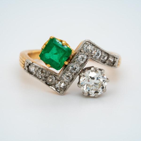 Deco Emerald and Diamond Zig Zag Stylised Ring - image 1