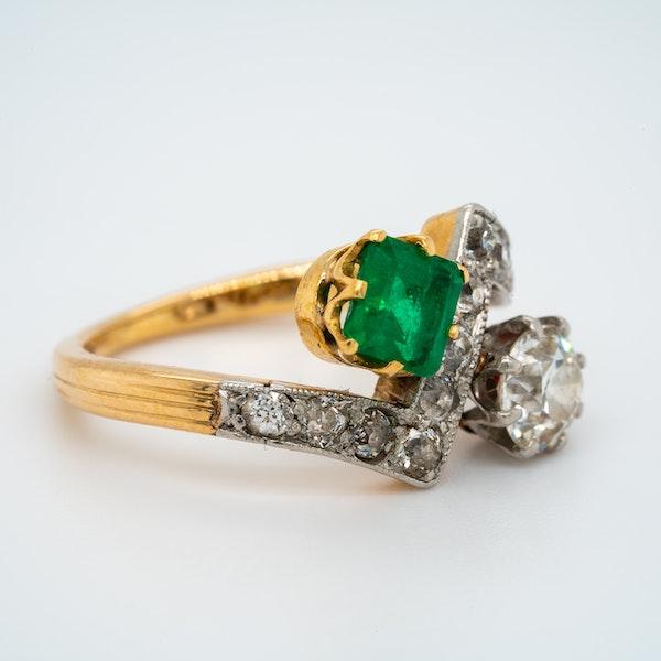 Deco Emerald and Diamond Zig Zag Stylised Ring - image 2