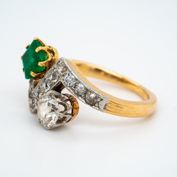 Deco Emerald and Diamond Zig Zag Stylised Ring - image 3